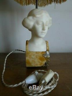 Sculpture Marbre Tete Jeune Fille Montee En Lampe Signee Preibisch Vers 1930