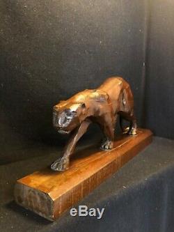 Sculpture Panthere Époque Art Deco En Bois Signée