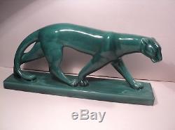 Sculpture Panthère Faïence Sainte Radegonde Fauve Art Deco 1930