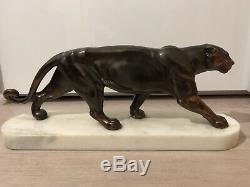 Sculpture Panthère Régule Noir Socle Marbre Blanc Statue Vintage Animal Art Déco