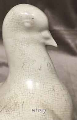 Sculpture Statue 20ème XXème Céramique Orchiès Craquelé Art Deco Oiseau ancien