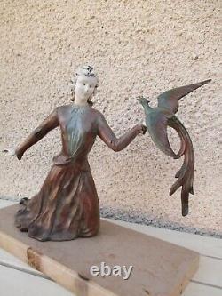 Sculpture Statue Régule Art Déco Chryselephantine Femme & L'Oiseau Pan