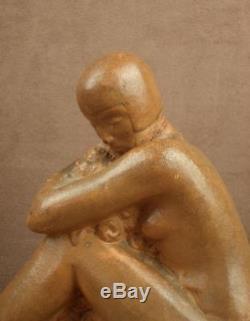 Sculpture Terre Cuite Art Deco Baigneuse Signee Rossat M. Guillard Edit Etling