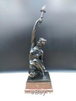 Sculpture ancienne nu bronze femme torchère art-déco A Puttemans Bruxelles