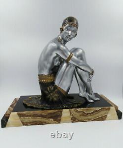 Sculpture années 30 Chiparus art-déco élégante danseuse dame nu féminin 46,5 cm