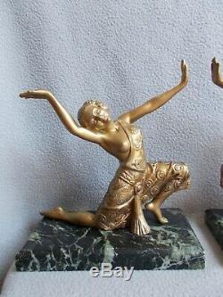 Sculpture art deco 1930 statuette femme danseuse statue en regule couleur bronze
