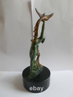 Sculpture art deco 1950 femme danseuse nue statuette style max le verrier statue