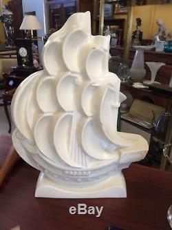 Sculpture art déco craquelé signé Lejan la Goélette 1930 céramique