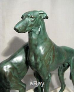 Sculpture art déco les lévriers par Jules Masson éditée par Max Le Verrier