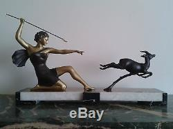 Sculpture art déco signé URIANO et ROCHARD Diane chasseresse