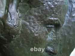 Sculpture bas relief Femme Bronze par Cousinet Art Déco Cire perdue Valsuani