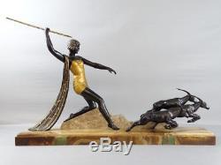 Sculpture chasseresse aux antilopes Art Déco J. Dauvergne Skulptur