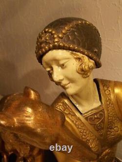Sculpture chryselephantine art deco 1930 A. GODARD statue femme au chien lévrier