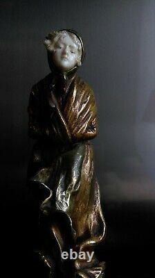 Sculpture chryséléphantine de DOMINIQUE ALONZO CICADA signée vers 1910-20's
