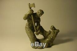 Sculpture d'un bûcheron en grès, signée Rozay, La Borne