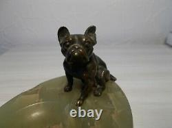 Sculpture en bronze 1920 art deco signée chien bouledogue francais vide poche