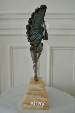 Sculpture en bronze Art deco Desiré Grisard Danseuse à l'éventail