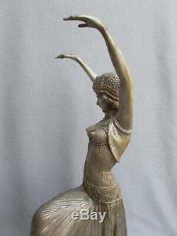 Sculpture en bronze argenté 60cm statue femme danseuse art deco style chiparus