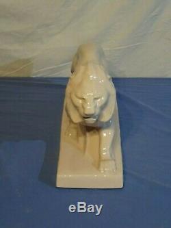 Sculpture faïence craquelée LION ART DÉCO par Le Jan Peugeot céramique rosée