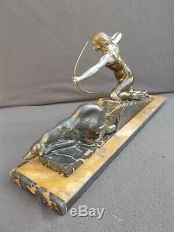 Sculpture femme & levrier art deco vintage spelter statue figural woman & barzoi