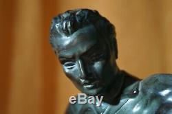 Sculpture footballeur régule patine verte bronze marbre art deco 1930 sport tbe