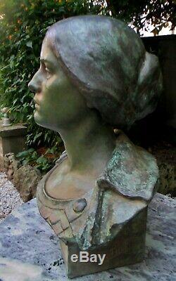 Sculpture statue Buste Allégorie République Minerve Monument guerre 14-18 WW1