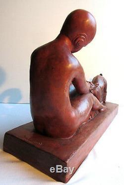 Sculpture terre cuite ART DECO signée MAZEAUD Femme et Chèvre sur terrasse