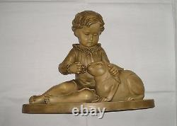Sculpture terre cuite fillette au lapin signée B. RezL