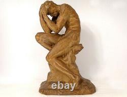 Sculpture terre cuite homme nu athlète au repos O. Merval Art Déco XXème
