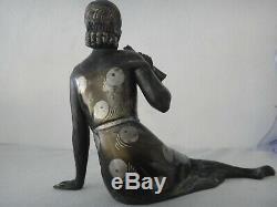 Sculpture veritable art deco, fonte d art h 20 cm