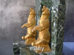 Serres-Livres sculpture en bronze doré massif signés Charles Art Déco vers 1930