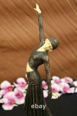 Signée Art Déco Chiparus Ventre Danseuse Bronze Marbre Sculpture Statue Figurine