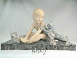 Spl. Grande Sculpture Ceramique Chats Art Deco Signee Lemoine Esprit Chiparus