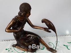 Statue En Bronze Signee Sculpture Style Art Nouveau Deco Femme Statuette