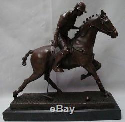 Statue Sculpture Cheval Polo Sport Style Art Deco Bronze Signe