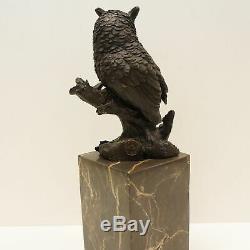 Statue Sculpture Chouette Hibou Oiseau Animalier Style Art Deco Bronze massif Si
