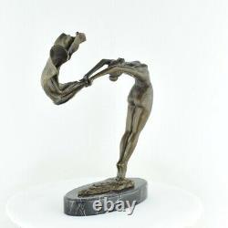 Statue Sculpture Danseuse Foulard Nue Sexy Style Art Deco Bronze massif Signe