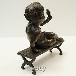 Statue Sculpture Oiseau Garcon Style Art Deco Style Art Nouveau Bronze massif Si
