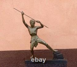 Statue Sculpture Regul Art Deco Homme Chasseur A La Lance