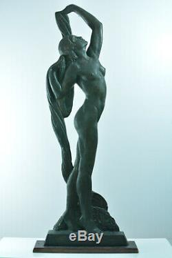 Statue Sylvestre Clerc Sculpture Art Deco Femme Nue Prix de Rome Pat. Bronze 125