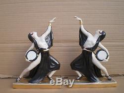Statuette en porcelaine de femme danseuse orientale art deco statue sculpture