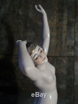 Statuette femme danseuse nue DRESSEL & KISTER art deco en porcelaine sculpture
