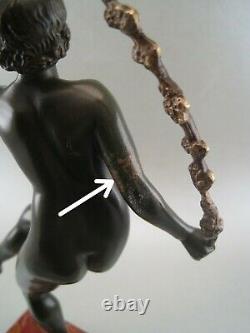 Statuette sculpture bronze ART DECO Danseuse nue signé JOE DESCOMPS (1869-1950)