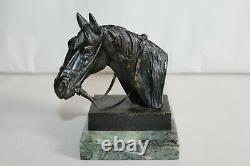 Superbe sculpture en bronze tête de cheval pur sang signée Irénée Rochard