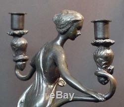Superbe statue sculpture Bronze art nouveau bougeoir 5.5kg40cm très déco chic