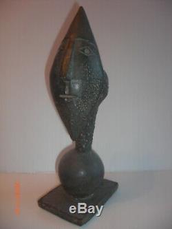Tête de Clown en Bronze Art Déco 1930 signé Belle sculpture massive bronze
