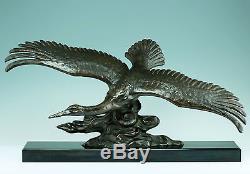 Très grand Art Déco Sculpture Volant Cygne 1930 65cm Base en marbre