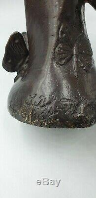 Vase Sculpture Suzanne BIZARD fee nymphe bronze art deco 1930 régule fonte d art
