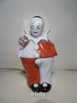 Veilleuse boite art deco 1920 1930 en porcelaine clown statuette sculpture lampe