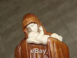 Vierge à l'enfant sculpture Art Déco (No chryséléphantine) signé Heuvelmans